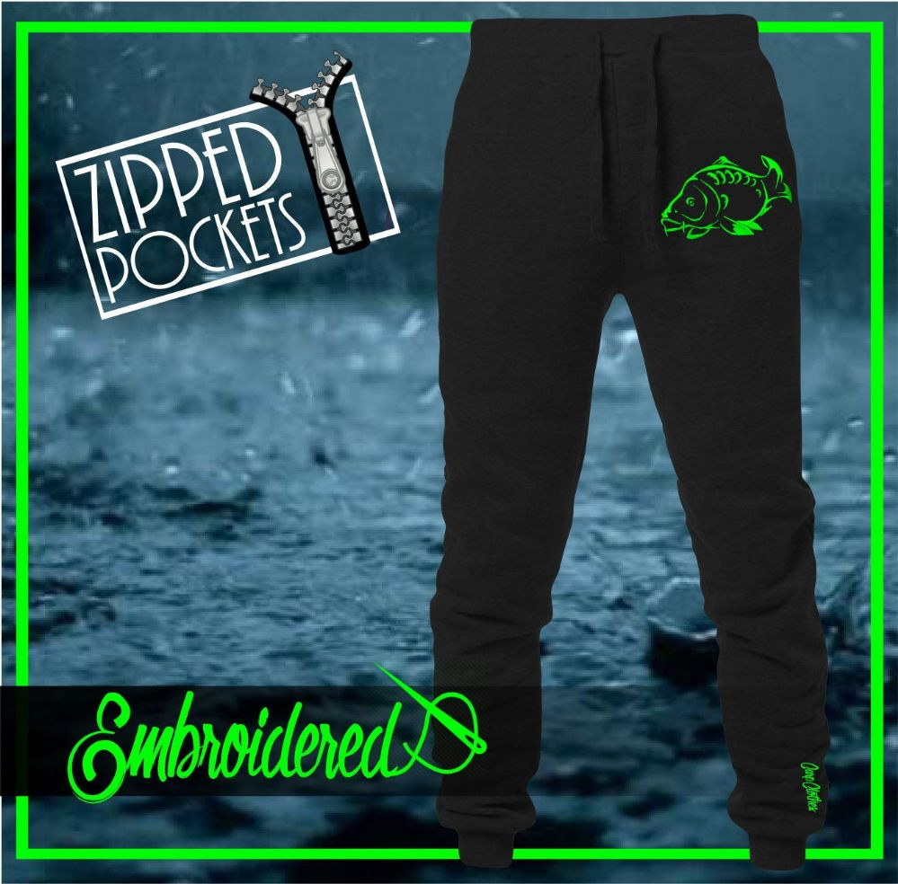 001 NEON EMBROIDERED JOGGERS BLACK
